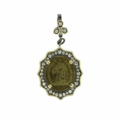 French Baby Guardian Angel Pendant with a Diamond Flower Bezel