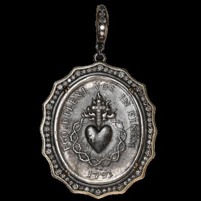 Silver Sacred Heart with Diamond Cross Inlay