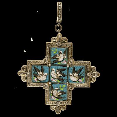19 Century Micro Mosaic Cross with Swallows