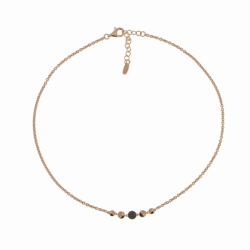 Closeup photo of Untie Single Polvere Circle Necklace - Rose Gold & Black Dust