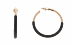 Closeup photo of 2-Tone Bottom Dipped Polvere Small Hoop Earrings - Rose Gold & Black Dust