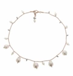 Closeup photo of DNA Shine Single Strand Choker w/Hematite & Pearls - Rose Gold