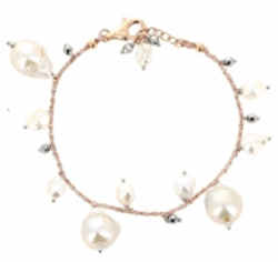 Closeup photo of DNA Shine Single Strand Bracelet w/Hematite & Pearls - Rose Gold