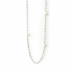 Closeup photo of DNA Shine Single Strand Necklace w/Hematite & Pearls - Ruthenium