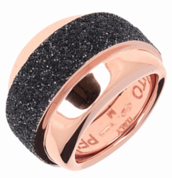 Closeup photo of Wide Set Polvere Ring - Rose Gold Black Polvere