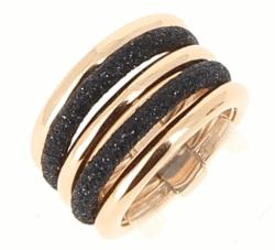 Closeup photo of 5 Band Combo Ring - Rose Gold Black Polvere