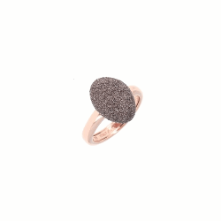 Closeup photo of Oval Cut Polvere Ring - Rose Gold Antelope Polvere