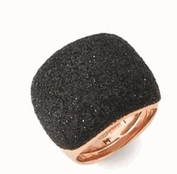 Closeup photo of Bombe Wrap Polvere Ring - Rose Gold Dark Brown Polvere