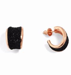 Closeup photo of Polished Edge Huggie Earring - Rosa Bronza