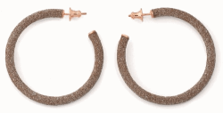 Closeup photo of Small Polvere Di Sogni Hoop Earrings - Rose Gold & Beige Dust