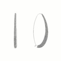 Closeup photo of Long Drop Polvere Earrings - Rhodium Dark Gray