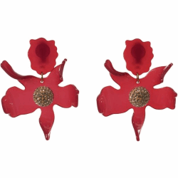 Closeup photo of CRYSTAL LILY EARRING - Raspberry