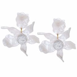 Closeup photo of CRYSTAL LILY FLOWER EARRINGS - White