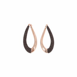 Closeup photo of Front Dipped Teardrop Polvere Earring - Rose Gold Dark Brown