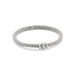 Closeup photo of Flex'it White Gold Bracelet With Diamonds - 653B BBRM