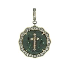 13 Century Diamond Inlay Vine Cross Pendant
