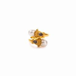 Closeup photo of Baroque Wrap Ring - Labradorite/Pearl