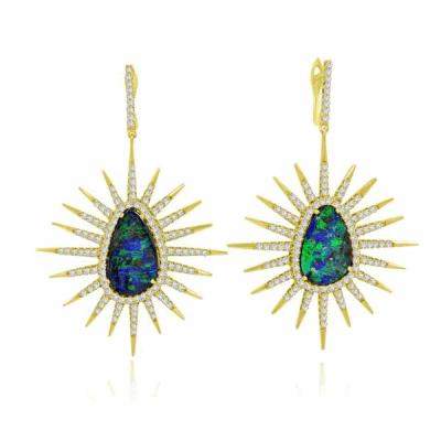 Opal with White Diamond Earrings in 14k