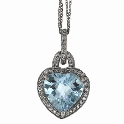 18k Aquamarine Heart
