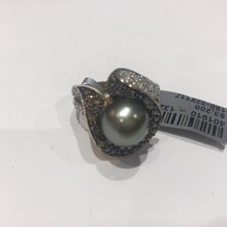 Brown/Wht DIA Tahitian Pearl Ring