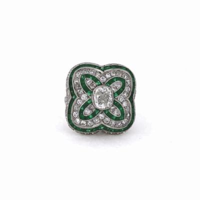 Cushion Cut Diamond and Emerald Ring