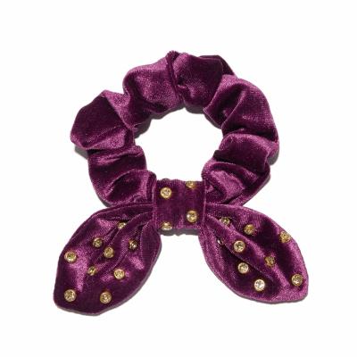 Violet Velvet Crystal Scrunchie