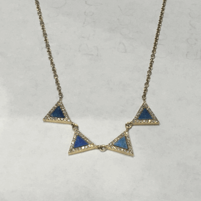 Four Opal Diamond Outline Triangles 14k NK