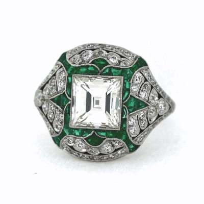 Estate Vintage Emerald Ring with Diamond