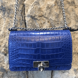 Closeup photo of Blue Caiman Crocodile Chain Bag