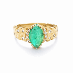 Closeup photo of Dana Bronfman x Muzo Emeralds North-South Marquise Agra Ring