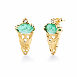 Closeup photo of Dana Bronfman x Muzo Emeralds Marquise Agra Button Earrings