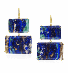 Joyce Azurite Malachite Two Stone Earrings