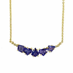 5-Geometric Tanzanite Joyce Cluster Necklace