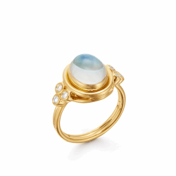 Closeup photo of 18k Classic Oval Blue Moonstone Ring