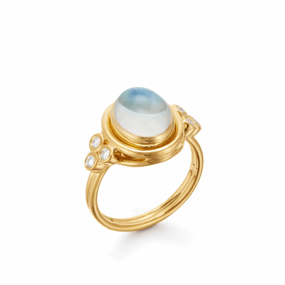 18k Classic Oval Blue Moonstone Ring
