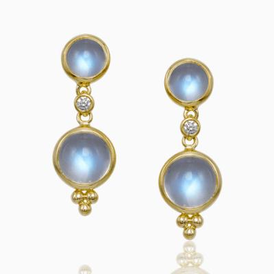 18k Double Drop Royal Blue Moonstone Earrings