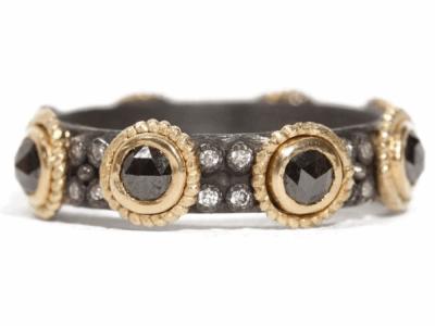 Rose Cut Black Sapphire with Diamond