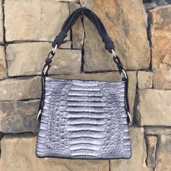 Closeup photo of Grey Caiman Croc Shoulder Bag with Dark Navy Ostrich Trim