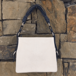 Closeup photo of White Stingray Shoulder Bag with Navy Ostrich Trim