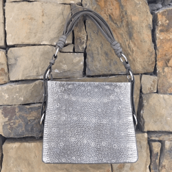 Closeup photo of Natural Lizard Shoulder Bag with Grey Ostrich Trim