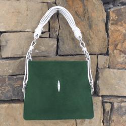 Closeup photo of Green Stingray Shoulder Bag With White Ostrich Trim