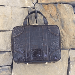 Closeup photo of Brown Alligator Luggage Bag