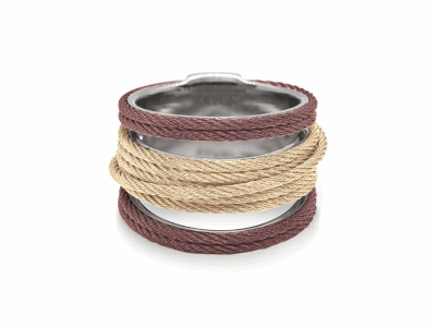 ALOR Noir Multi-Cable Separated Stack Ring in Burgundy and Yellow Alternating Cable - ALOR