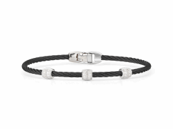 ALOR Noir Black Cable Bracelet with Triple Diamond Bead - ALOR