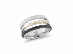 Closeup photo of ALOR Noir Triple Band Ring Black Cable, White and Yellow Gold with Diamonds - ALOR