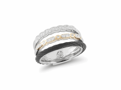 ALOR Noir Triple Band Ring Black Cable, White and Yellow Gold with Diamonds - ALOR