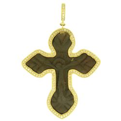 White Aqua Bezel Old Russian Cross