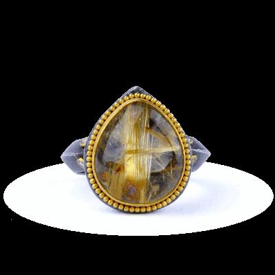 Kurtulan 24K Gold, Oxidized Silver, Diamonds, Rutilated Quartz