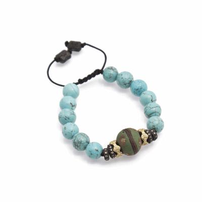 Stack Station Magnesite Beaded Bracelet With Green Italian Beads