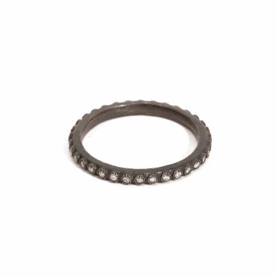 Thin White Diamond Stack Ring